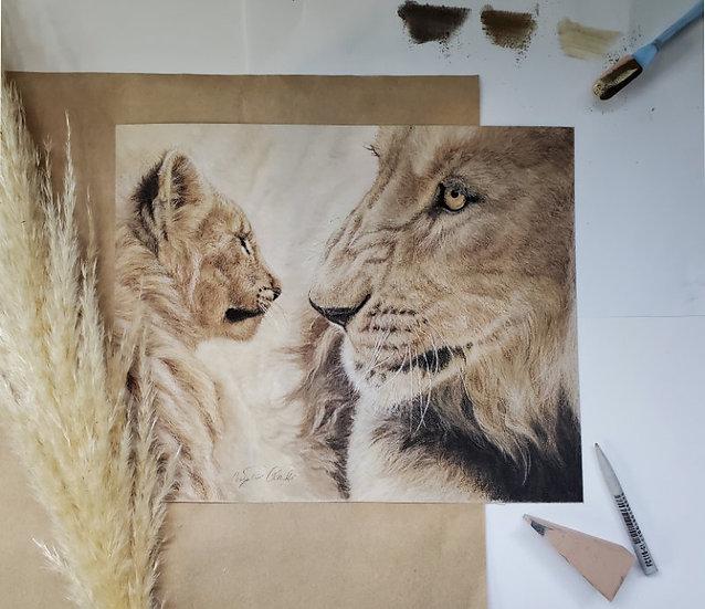 'Words of Wisdom' Lion and Cub Original