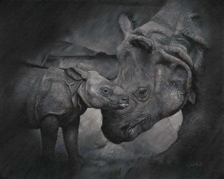 'Thick as Thieves' rhino original artwork