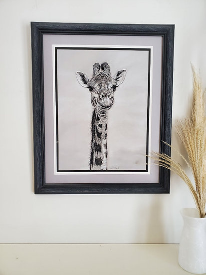 'Stretch and See' Original pastel giraffe artwork