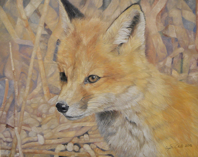 'Newt' fox kit pastel original