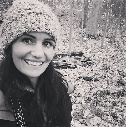 Crystal Clarke, artist, hiking in the woods