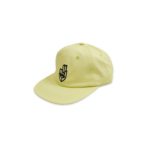 JETLAGBROTHERS YELLOW HAT TWO FINGER SALUTE HAND