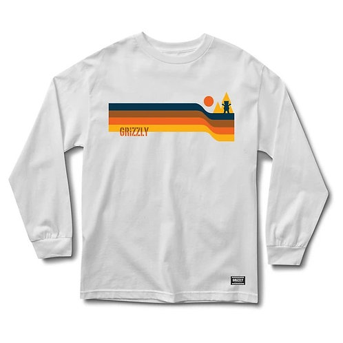 GRIZZLY RETRO LINES L/S TEE WHITE
