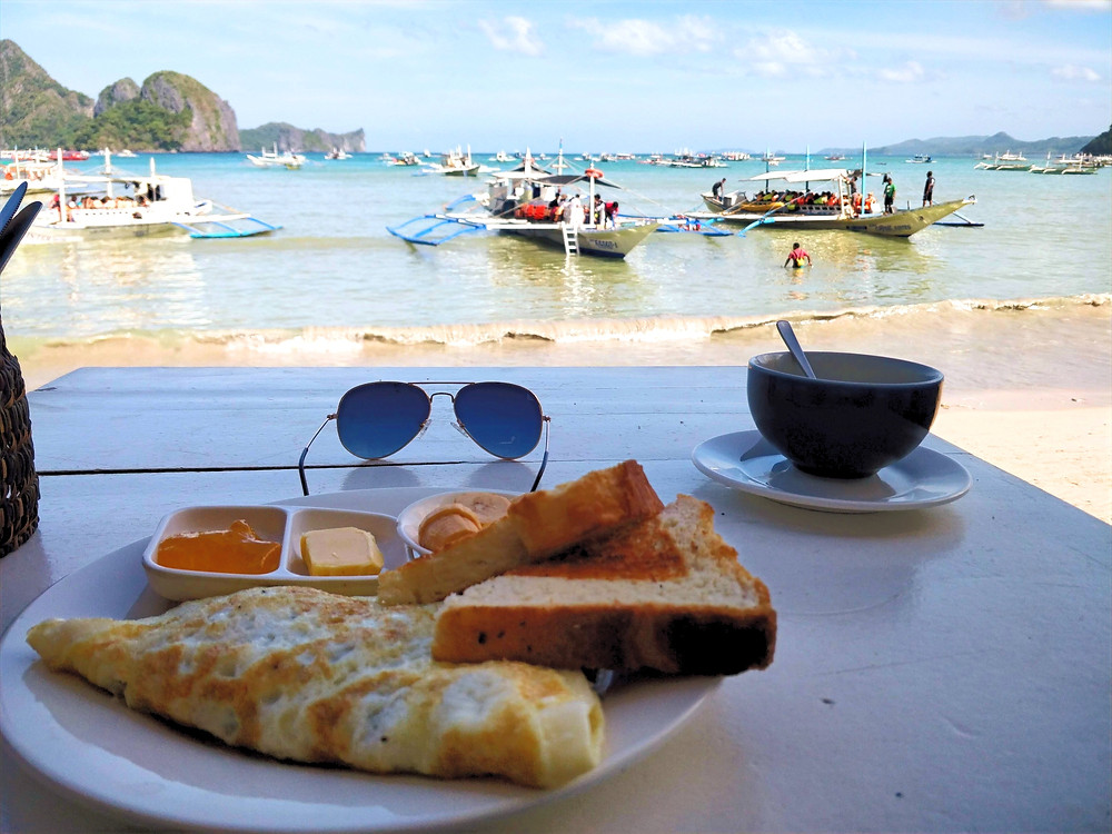 One of the many sea side cafes serving breakfast and breathtaking views!