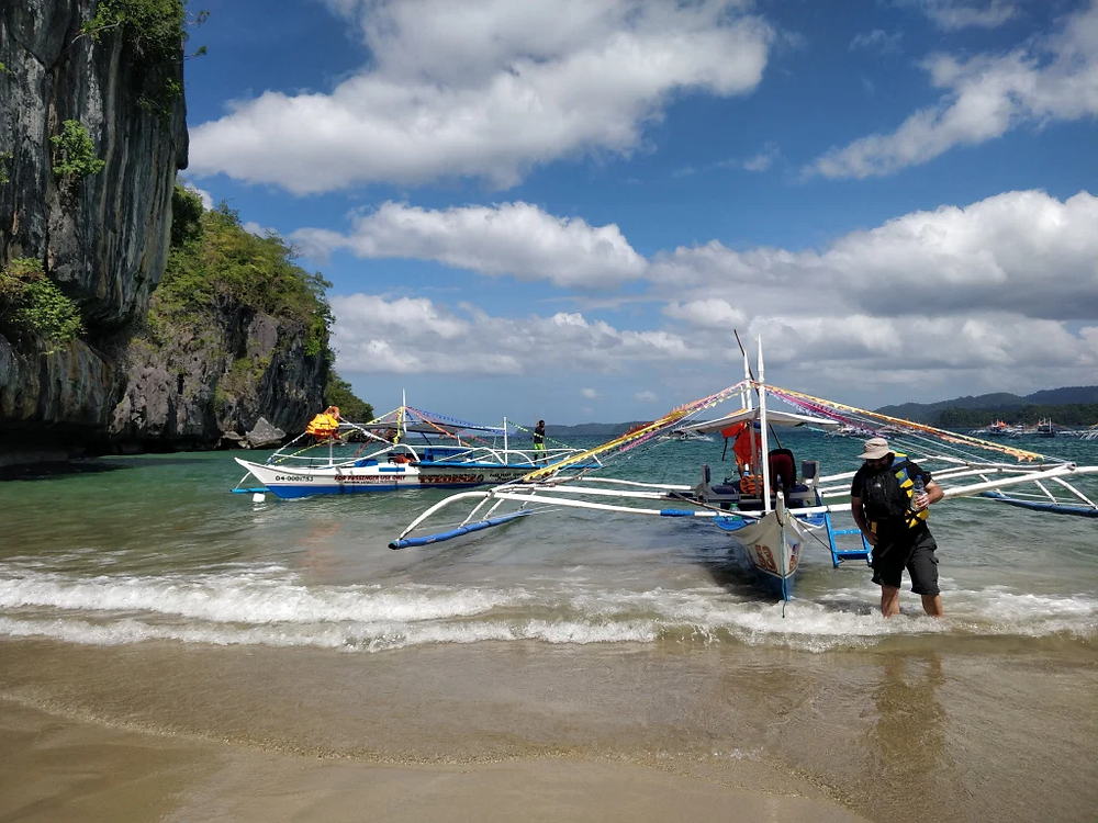 The beach where you first travel to before carrying on a short walk to the entrance of the underground river