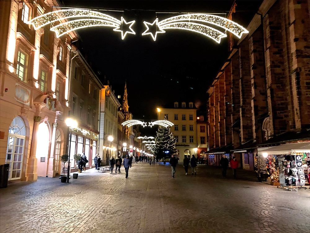 The Christmas lights were still decorated at the AltMarkt