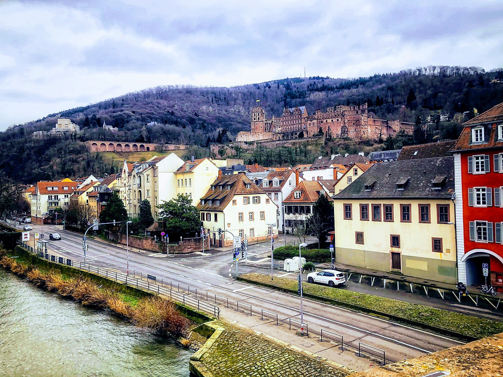 The view of Heidelberg, a city in Germany, from one of it's many bridges