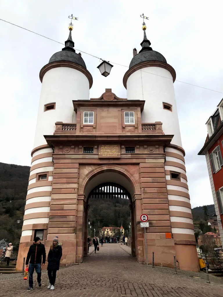 The Bridge connecting the old city to the new city at Heidelberg. Cross this bridge to make your way to Philosophenweg.