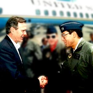 Bob Pecoraro greets President Bush outside Air Force One