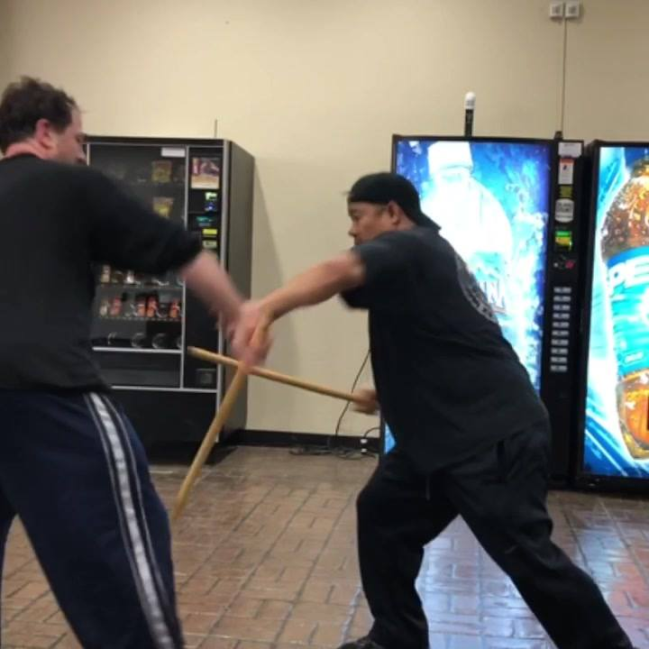 "Some ""Sumbrada"" Action. Stockton Multi-Style Instructor Edward Talisayan practicing ""Counter for Counter"" or Sumbrada with Anthony Olson, during Saturday Morning Class at San Joaquin Delta College."