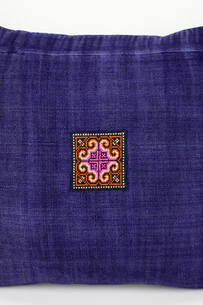 """Natural Indigo Pillow Case with Vintage Hmong Cross Stitch Embroidery 18"""" x 18"""""""