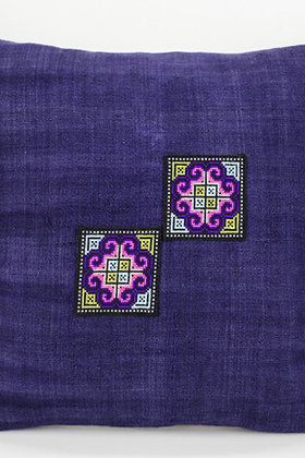 "Natural Indigo Pillow Case with Vintage Hmong Cross Stitch Embroidery 18"" x 18"""