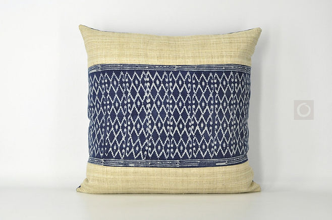 "Handwoven Hemp and Cotton Batik Pillow Cover 20"" x 20"""