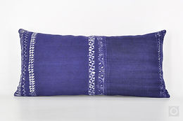 "Hand-printed Indigo Pillow Case with Vintage Hmong Hemp Batik 20"" x 10"" / 729"