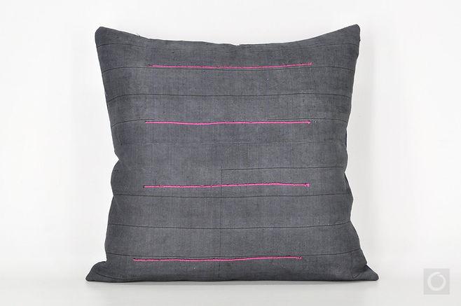 "Dark Gray Pillow Case with Vintage Hmong Handwoven Hemp 18"" x 18"""