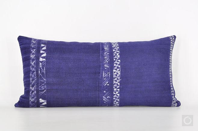 """Indigo Lumbar Pillow Case with Vintage Hmong Batik Hemp 20"""" x 10"""" / 728"""