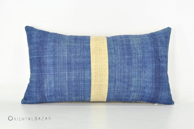 """Hmong Pillow Cover with Indigo & Raw Hemp  22"""" x 12"""""""