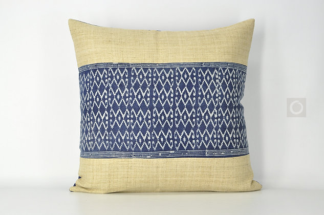 "Handwoven Hemp and Cotton Batik Pillow Cover 22"" x 22"""