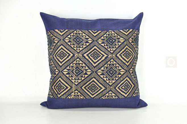 "Vintage Navy Laotian Embroidery Pillow Case 22"" x 22"" / 508"