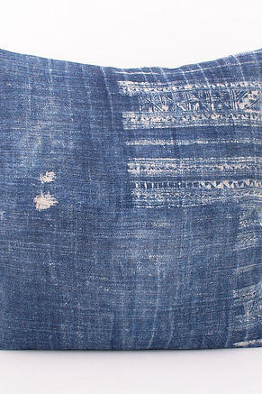 "Faded Vintage Hmong Hemp Batik Pillow Cover 18"" x 18"""