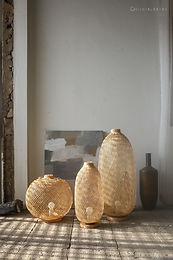 FL05 - Flexible Bamboo Floor/Table Lamp, Boho Asian Lantern