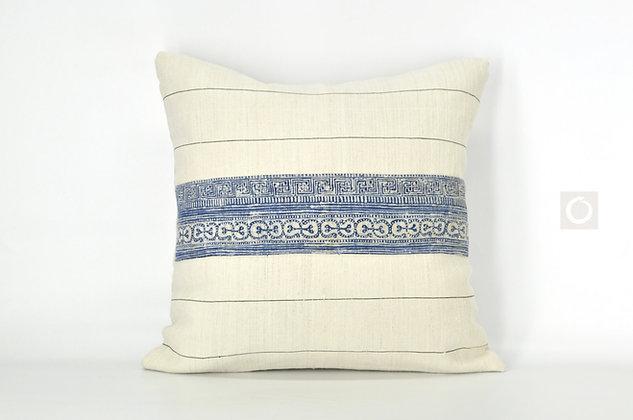 """Rare Vintage Hmong Indigo Hemp Batik Pillow Cover 18"""" x 18"""""""