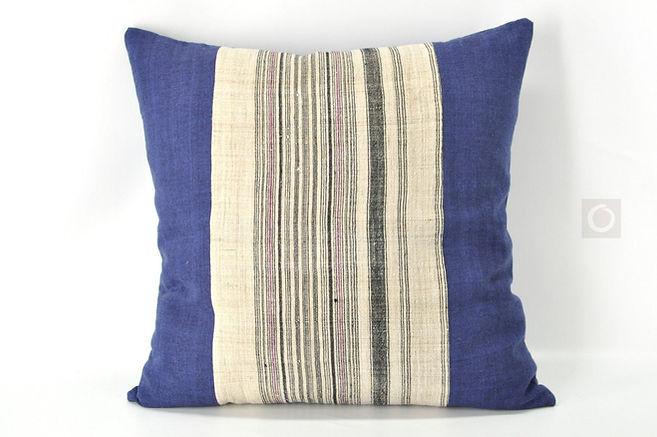 "Vintage Hmong Striped Hemp Pillow Cover 20"" x 20"""