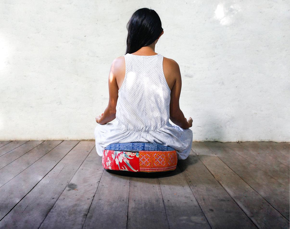 Stunning boho meditation cushion, hmong meditation pillow, round floor cushion