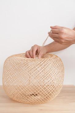 Spherical Pendant Bamboo Lamp