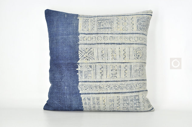 "Indigo Pillow Cover Vintage Hmong Hemp Batik 20"" x 20"" / 604"