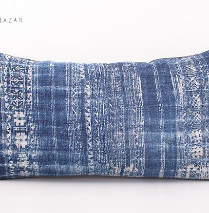 """Vintage Hmong Hemp Batik Lumbar Pillow Case 18"""" x 10"""""""