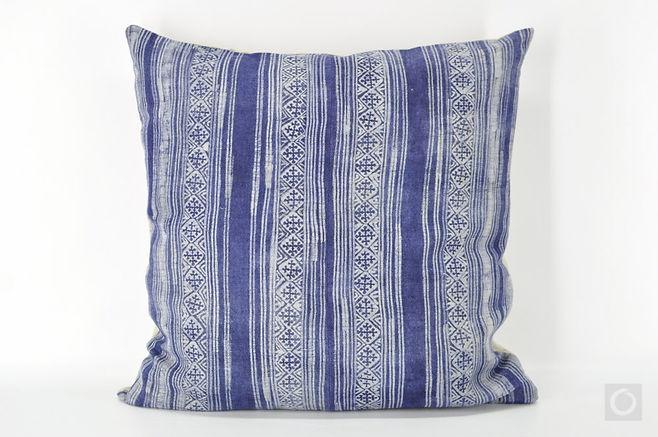"Vintage Hmong Hemp Batik Pillow Cover 22"" x 22"""