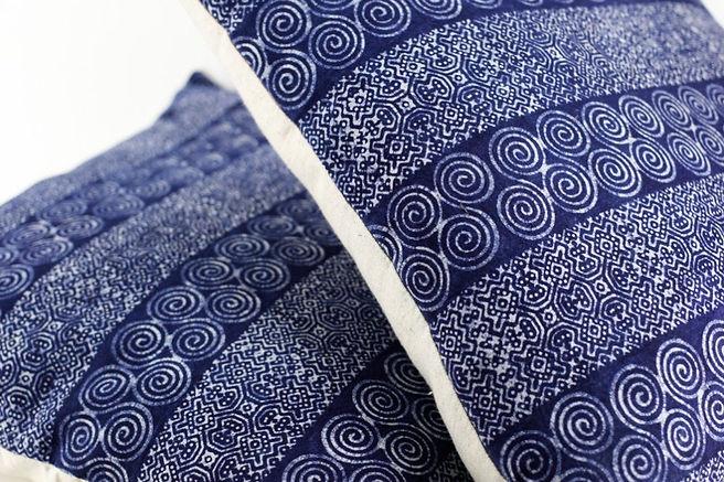 """Hmong Batik Spiral Pattern Pillow Case 18"""" x 18"""""""