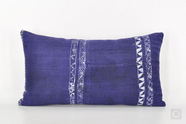 "Hand-printed Indigo Hmong Pillow Cover 18"" x 10"""