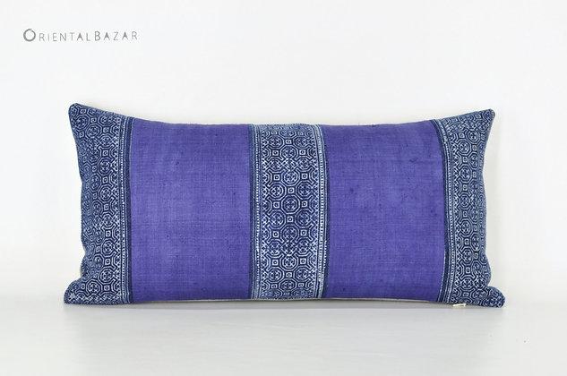 """Hmong Batik Indigo Lumbar Pillow Cover 20"""" x 10"""""""