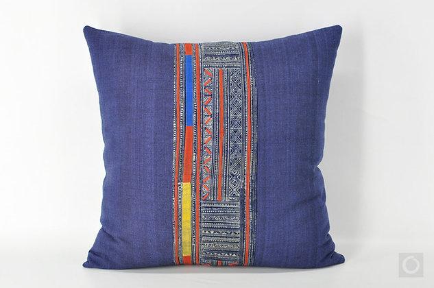 """Vintage Hmong Indigo Batik Applique Pillow Indigo 20"""" x 20"""""""
