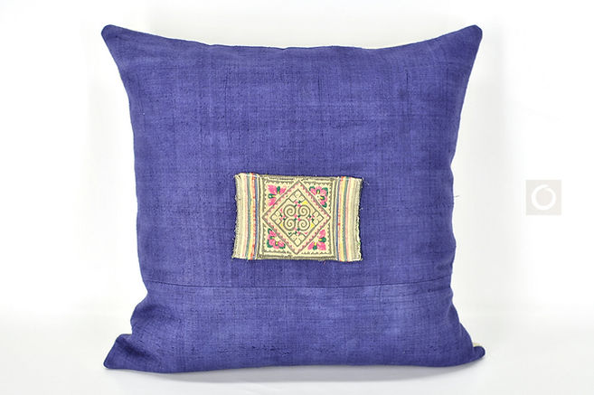 """Indigo Pillow Cover with Hmong Antique Embroidery Patchwork 18"""" x 18"""""""