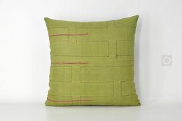 """Green Hmong Handwoven Textile Pillow Cover 16"""" x 16"""""""