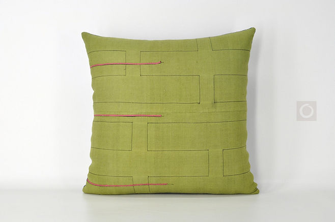 "Green Hmong Handwoven Textile Pillow Cover 16"" x 16"""