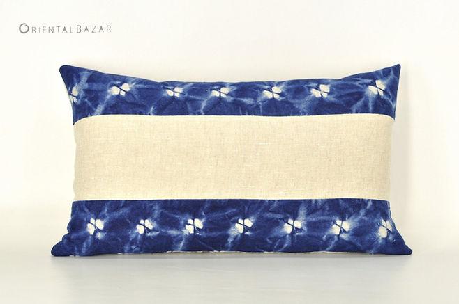 """Miao Indigo Shibori Lumbar Pillow Cover 20"""" x 12"""""""