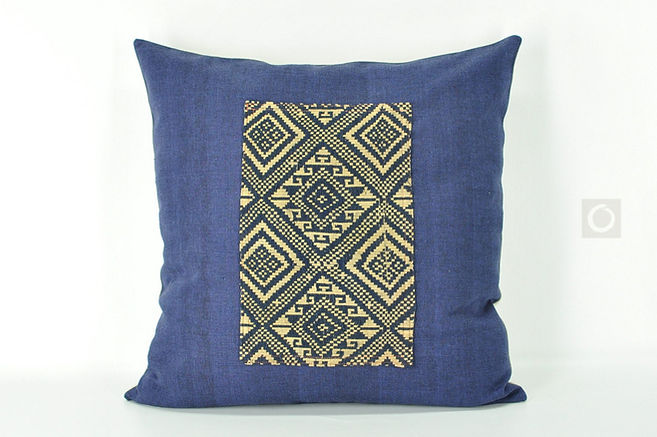 """Indigo Pillow Cover with Laotian Tribal Blanket Fabric Patch 20"""" x 20"""""""