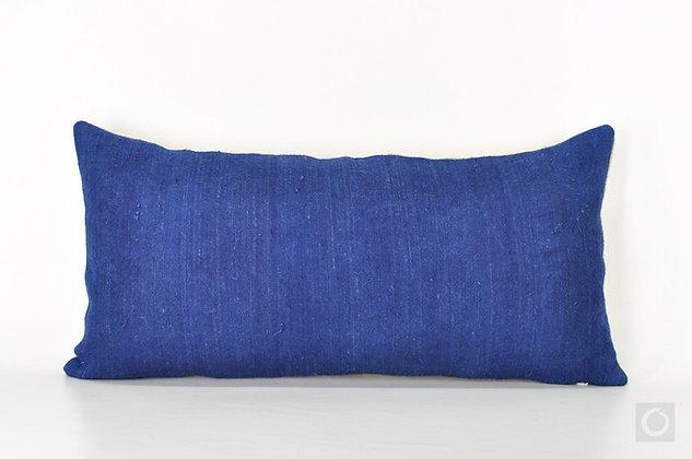 "Natural Dye Indigo Hemp Pillow Case 20"" x 10"""