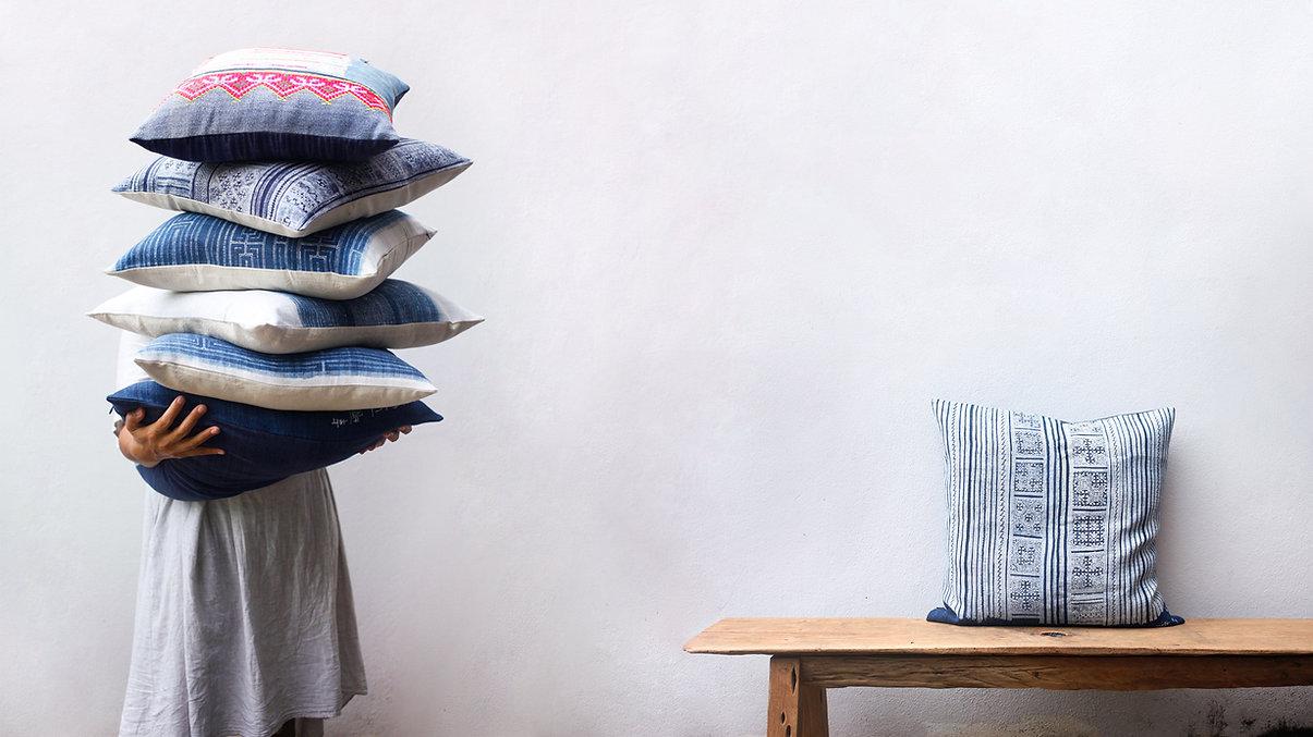 Ethnic pillows pile orientalbazar