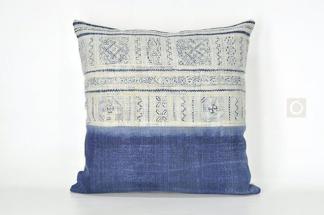 "Indigo Blue Pillow Cover with Vintage Hmong Batik on Hemp 18"" x 18"" / 607"