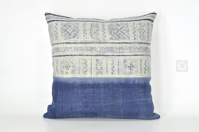 "Indigo Blue Pillow Cover with Vintage Hmong Batik on Hemp 18"" x 18"" / 607"