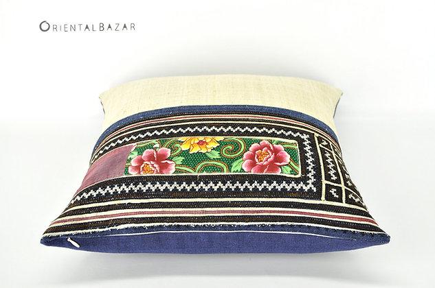 """Vintage Floral Print Hmong Pillow Case 18"""" x 18"""""""
