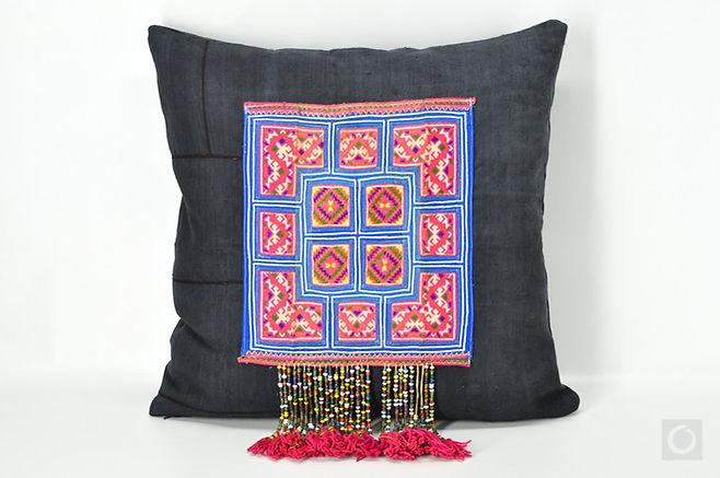 """Hmong Embroidery Pillow Case with Tribal Hanging Tassels 20"""" x 20"""""""