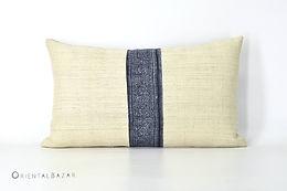"""Antique Hemp & Hmong Indigo Batik Lumbar Pillow 20"""" x 12"""""""