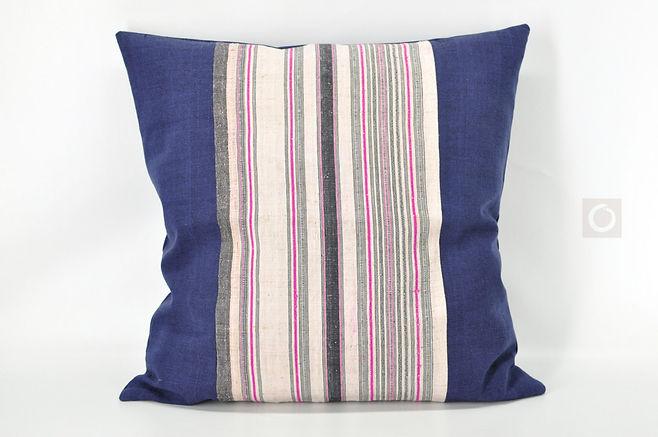 "Vintage Hmong Striped Hemp Pillow Cover 22"" x 22"""
