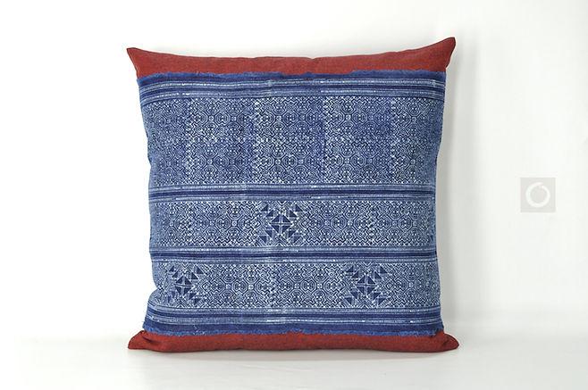 """Hmong Indigo Batik on Red Chambray Cotton Pillow Cover 20"""" x 20"""""""